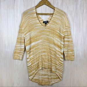 NWT Express Yellow White  Knit Tunic Sweatshirt